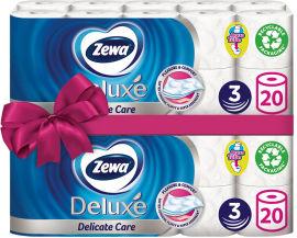 Акция на Туалетная бумага Zewa Deluxe белая трехслойная 20 рулонов + 20 рулонов (7322540593204) от Rozetka