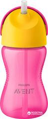 Акция на Чашка с трубочкой Philips AVENT 300 мл 12 мес+ Розовая (SCF798/02) от Rozetka