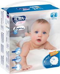 Акция на Подгузники одноразовые для детей AURA baby 2/S 3-6 кг mega-pack 70 шт (4752171003279) от Rozetka