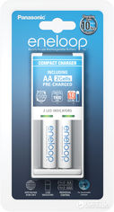 Акция на Зарядное устройство Panasonic Compact Charger + Eneloop 2AA 1900 mAh (K-KJ50MCC20E) от Rozetka