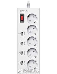 Акция на Сетевой фильтр-удлинитель Real-El RS-5F Charge 4 3 м White от Rozetka