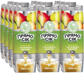 Акция на Упаковка сока прямого отжима Прямосок Яблочный сок 1 л х 12 шт (4820192261975_4820003688342) от Rozetka