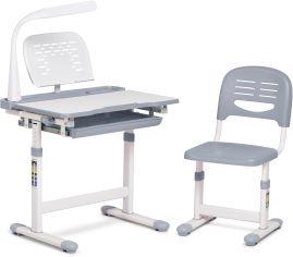 Акция на Комплект FunDesk Парта и стул-трансформеры Cantare Grey + Настольная светодиодная лампа от Rozetka