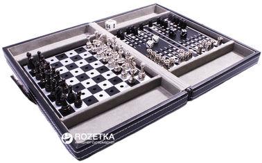 Дорожный набор в кожаном кейсе Duke Шахматы, шашки, нарды (SG1150) от Rozetka