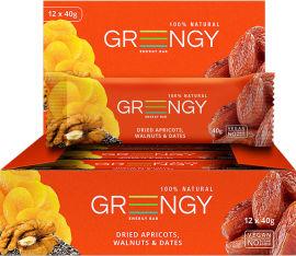 Упаковка батончиков Greengy Финики, Курага, Грецкие орехи и Чиа 12 шт х 40 г (4820221320482) от Rozetka