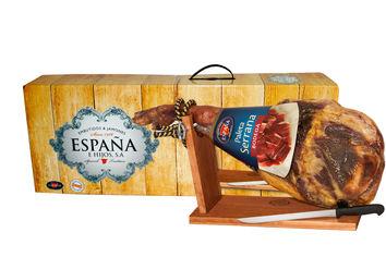Акция на Хамон Espana Палета Бодега на кости в подарочной упаковке + хамонера + нож, 8 месяцев выдержки 4.5 кг (8428204007007_8428204005089) от Rozetka