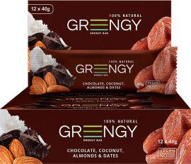 Упаковка батончиков Greengy Финики, Шоколад, Кокос и Миндаль 12 шт х 40 г (4820221320529) от Rozetka