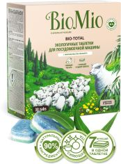 Акция на Экологичные таблетки для мытья посуды в посудомоечных машинах BioMio Bio-Total 7 в 1 с маслом эвкалипта 30 шт (4603014004673) от Rozetka
