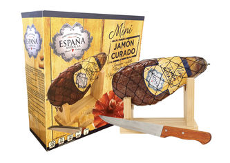 Хамон Espana Курадо мини в подарочной упаковке + подставка + нож, 8 месяцев выдержки 1 кг (8428204007489) от Rozetka