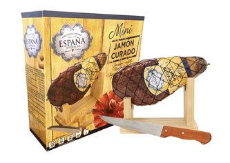 Акция на Хамон Espana Курадо мини в подарочной упаковке + подставка + нож, 8 месяцев выдержки 1 кг (8428204007489) от Rozetka