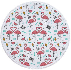 Пляжный коврик Mindo Фламинго Summer 150 см Розово-белый (md17089) от Rozetka