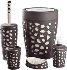 Акция на Набор аксессуаров для ванной комнаты PLANET Stone 5 предметов коричневый/кремовый от Rozetka
