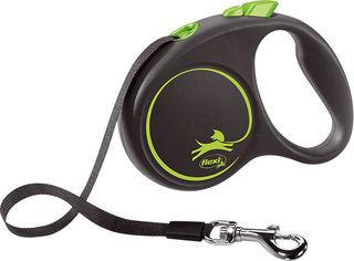 Акция на Поводок-рулетка Flexi Black Design S лента 5 м Зеленый (4000498033920) от Rozetka