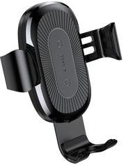 Акция на Беспроводное зарядное устройство Baseus Wireless Charger Gravity Car Mount Osculum Type Black (WXYL-A01) от Rozetka