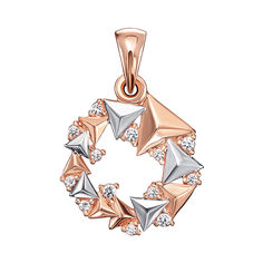 Акция на Золотая подвеска в комбинированном цвете с кристаллами Swarovski 000133906 от Zlato