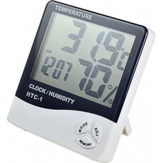 Акция на Цифровой термогигрометр HTC-1 с выносным датчиком часами будильником Белый (20053100254) от Allo UA