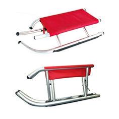 Акция на Складывающиеся алюминиевые санки с непромокаемым тканевым сидением для детей от 3-х лет до 80 кг 89х30/37х22см от Allo UA