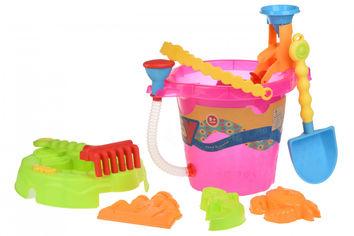 Акция на Набор для игры с песком Same Toy 6 ед Ведерко розовое 976Ut-1 от Podushka