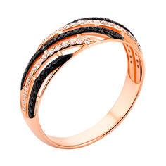 Акция на Золотое кольцо с черными и белыми фианитами 000056932 19 размера от Zlato