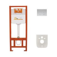 Акция на Инсталляция Q-tap Nest комплект 4 в 1 с панелью смыва PL M11SAT, QTPLM11SAT от Allo UA
