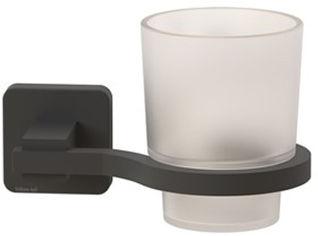 Акция на Стакан для ванной TEKNO-TEL MG374 с держателем чёрный матовый от Rozetka