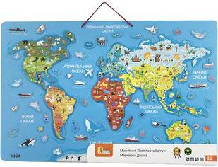 Акция на Пазл магнитный Viga Toys Карта мира с маркерной доской на украинском языке (44508) от Rozetka