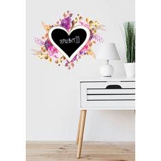 Акция на Наклейка виниловая Zatarga Сердце для сообщений♡ разные цвета под мел 500x400 размер сердца для рисования мелом 200х175мм от Allo UA