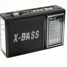 Акция на Радиоприёмник Golon портативный со встроенным светодиодным фонариком 18,5см Чёрный RX-177 от Allo UA