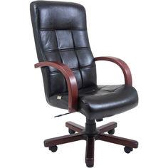 Акция на Офисное Кресло Руководителя Richman Вирджиния Титан Black Wood М1 Tilt Черное от Allo UA