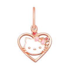 Акция на Кулон-сердце из красного золота Hello Kitty с белой, розовой и красной эмалью 000103918 от Zlato