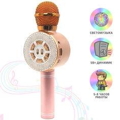 Акция на Детский микрофон Wster с функцией караоке USB, microSD, AUX, Bluetooth WS 669 Розовый с золотым от Allo UA