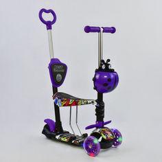 Акция на Детский самокат-беговел 5 в 1 трёхколёсный Best Scooter 13400 Абстракция С родительской ручкой Подсветка колес Чёрный/Фиолетовый (BS13400) от Allo UA