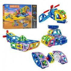 Акция на Магнитный конструктор Limo Toy MAGniSTAR 5001 96 деталей Цветные магниты Авиатор от Allo UA