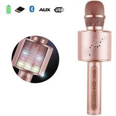 Акция на Беспроводной Bluetooth микрофон с колонкой 2в1 Karaoke YS-66 с функцией ЭХО смены голоса фонограммой и disco подсветкой Розовый от Allo UA