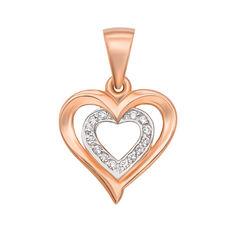 Акция на Золотой кулон-сердце в комбинированном цвете с фианитами 000106376 от Zlato