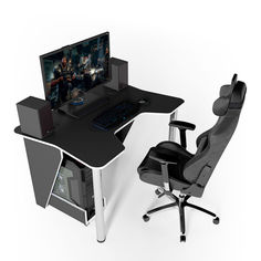Акция на Стол геймерский игровой ZEUS IGROK-3 черный + белый от Allo UA