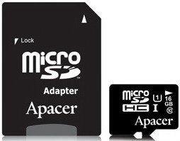Акция на Apacer 16GB microSDHC Class 10 UHS-I U1 + adapter (AP16GMCSH10U1-R) от Stylus