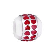 Акция на Серебряный шарм Путь сердца с белой керамикой и красной эмалью 000072838 от Zlato