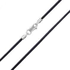 Акция на Шелковый шнурок черного цвета с серебряной застежкой Модерн, 2мм 000007685 50 размера от Zlato