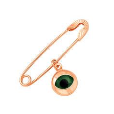 Акция на Булавка из красного золота Всевидящий глаз с подвеской-оберегом и алмазной гранью от Zlato