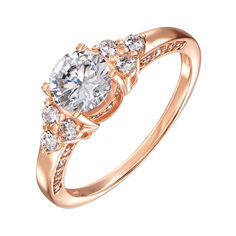 Акция на Золотое кольцо в красном цвете с фианитами 000127032 19 размера от Zlato