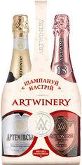 Акция на Набор сувенирный вино игристое Артемовское белое полусладкое 0.75 л 10-13.5% и Artwine розовое брют 0.75 л 10-13.5% (4820176063076) от Rozetka