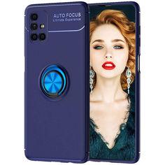 Акция на TPU чехол Deen ColorRing под магнитный держатель (opp) для Samsung Galaxy M51 Синий / Синий от Allo UA