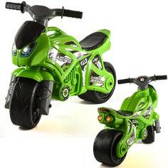 Акция на Беговел-каталка толокар Мотоцикл чудомобиль Технок Зеленый байк с ручкой (6443 ТВ) от Allo UA