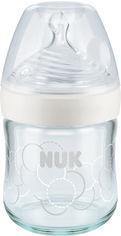 Акция на Бутылочка для кормления NUK Nature Sense стеклянная с силиконовой соской поток S размер 1 120 мл белый принт (10747088/3) (4823092101136) от Rozetka