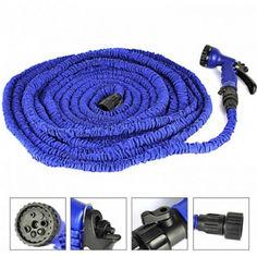 Акция на Усиленный садовый шланг для полива XHose 15м. с распылителем Magic Hose Синий от Allo UA