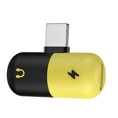 Акция на Разветвитель Combo Для Зарядного И Наушников Lightning Желто-черный (1004-414-00) от Allo UA