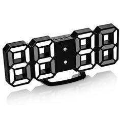 Акция на 3D часы Digoo С будильником Светодиодные Черный корпус Белый (1004-584-07) от Allo UA