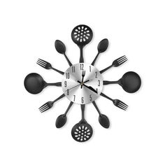 Акция на Настенные часы BauTech На кухню Ложки Вилки 35 см Черный (1006-238-00) от Allo UA
