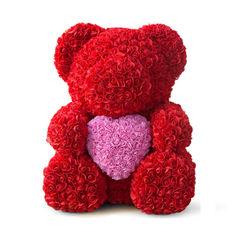 Акция на Мишка из роз красный с розовым сердцем 40 см из фоамирана от Allo UA